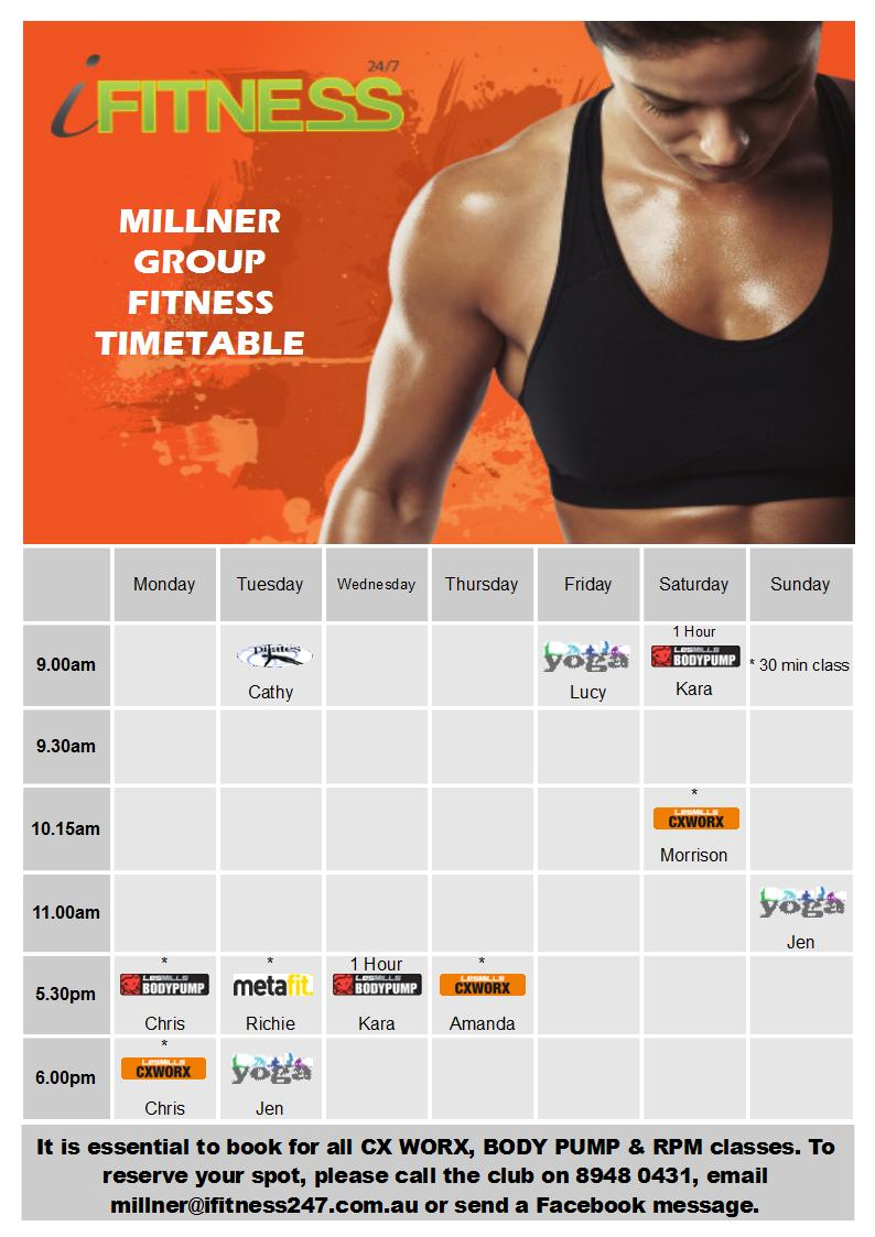 MILLNER - endAug timetable